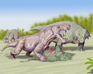 Inostrancevia was practically a Permian lion, feasting on a turtle relative (Scutosaurus). Image credit: Dmitri Bogdanov