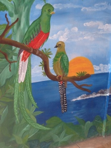 A mural at the restaurant, even though most of the quetzales are gone.