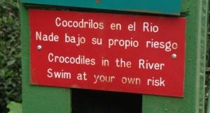 A sign on the entrance bridge.