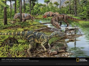 By the end of the Triassic Period, which followed the Permian, it was becoming clear who'd come out on top. Image source: Palaeos Earth